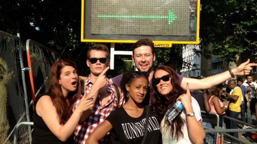 Ayesha Casely-Hayford (actress) George Weightman (Actor), Will Parrott (actor), Helen Boast (music photographer) and Laura Studarus (writer) at Nottinghill Carnival 2013