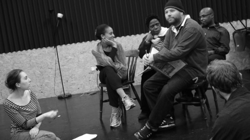 "In rehearsals for ""Where Will We Live?"" Verbatim theatre play by Lucy Curtis and Elizabeth Winkler feat. Ayesha Casely-Hayford, Ivana Mazza-Coates, Olivette Cole-Wilson. Christopher Sherwood, Hilary Derrett, Steven George and Tony McPerson"