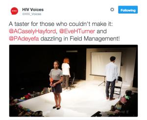 """Ayesha Casely-Hayford, Paul Adeyefa, and Eve Hedderwick-Turner in """"Field Management"""" by Chris Adams, dir. Hugh Wyld"""