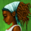 a painting of a young black girl with her hair in dreadlocks held up by a headscarf and looking reflectively down