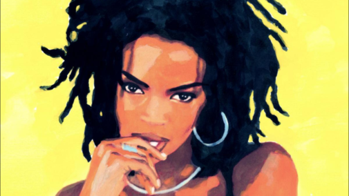 A picture drawing of singer Lauryn Hill with her dreadlock hair and a yellow background