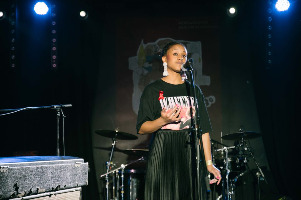 "Ayesha Casely-Hayford performing ""Invisible No Longer"" written by Bakita KK. Photo by Martin Eito"