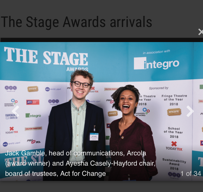 Ayesha Casely-Hayford at The Stage Award 2018