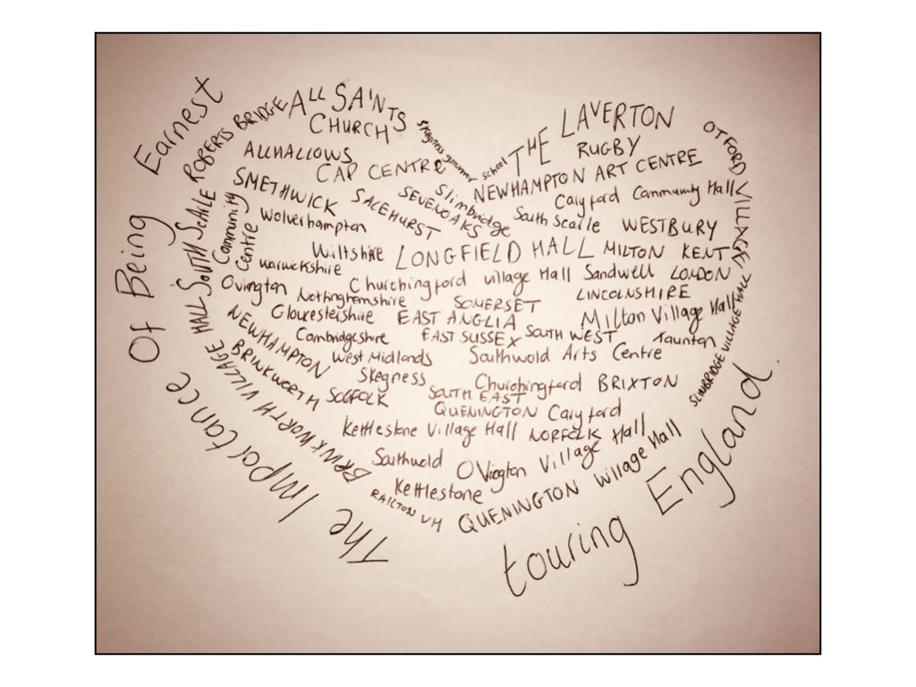 A heart showing names of the Two Gents Production of The Importance of Being Earnest Rural Tour destinations