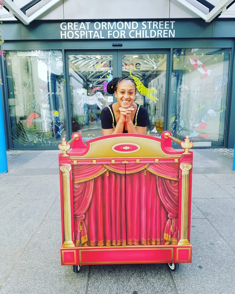 Ayesha Casely-Hayford with The Unicorn Theatre and Great Ormond Street delivery Aesop fables to the children and their families